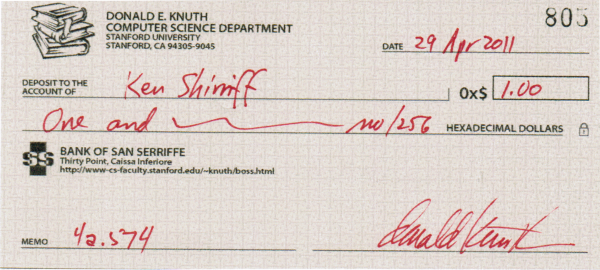 My Knuth TAOCP reward check