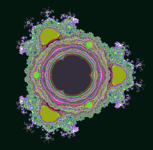 The multi-branch fractal for z^2.5+c, showing the number of convergent branches after 14 iterations.