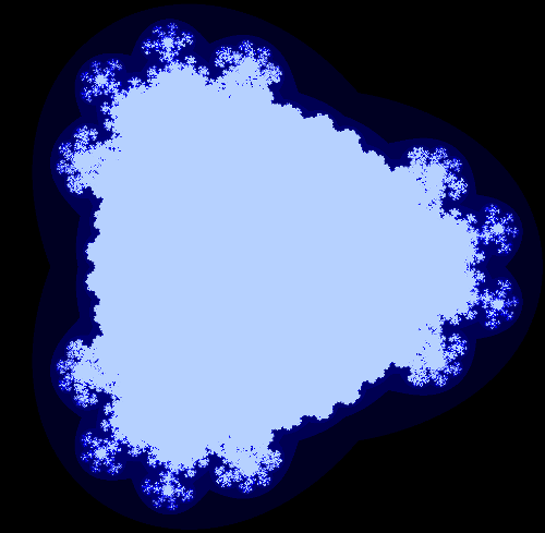 The multi-branch fractal for z^2.5+c, showing details of the exterior.